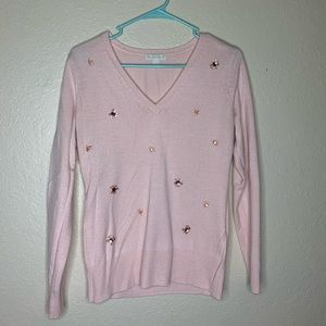 Pink Beaded Detail Sweater